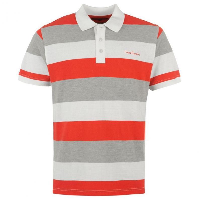 Pánské polo tričko Pierre Cardin- bílo/červeno/šedé