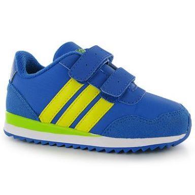 Dětské sportovní boty Adidas Jogger - modro/žluté na suchý zip, Velikost: C9 (euro 27)
