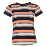Lee Cooper Yarn Dye Crew Tshirt Womens Navy/Coral