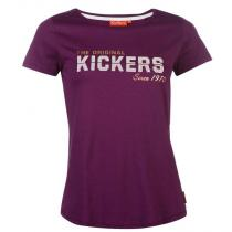 Kickers Print T Shirt Ladies Purple