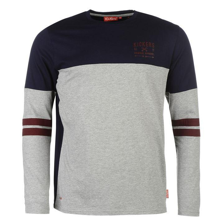 Kickers Long Sleeve Cut and Sew Tee Mens Grey Marl/Navy