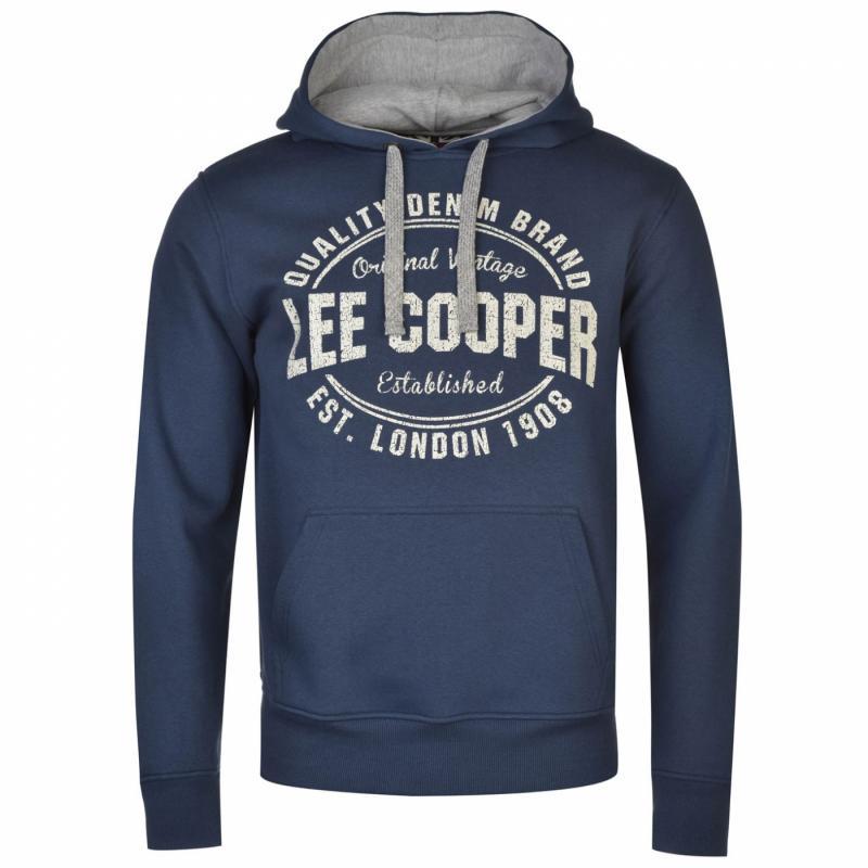 Pánská mikina s kapucí Lee Cooper Vintage Blue, Velikost: M