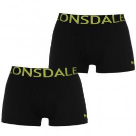 Spodní prádlo Lonsdale 2 Pack Trunk Mens Black/Lime