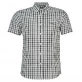 Košile Pierre Cardin Short Sleeve Shirt Mens White/Blk Check